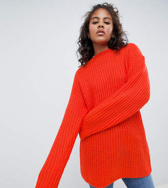 Asos Tall DESIGN Tall chunky sweater in rib with crew neck