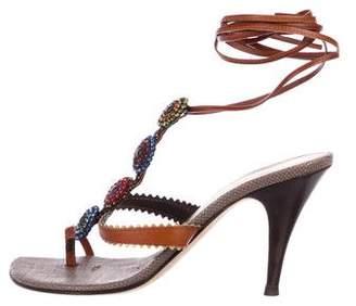Giuseppe Zanotti Embellished Lace-Up Sandals