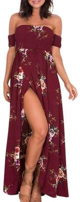Equipment YANG-YI Women Dress, Clearance Women Boho Off Shoulder Floral Dress Maxi Dress (, 4XL)