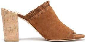 Tory Burch Huntington Fringe-Trimmed Suede Mules