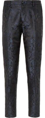 Dolce & Gabbana Slim-Fit Silk-Jacquard Trousers - Men - Blue