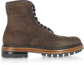 Santoni Brown Deer Suede Men's Boots