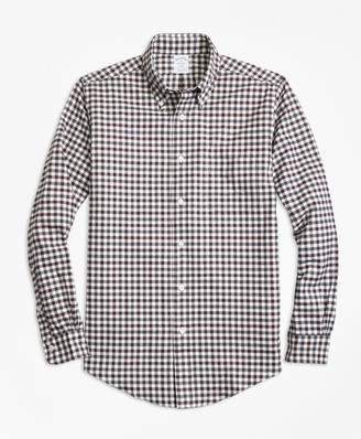 Brooks Brothers Regent Fit Luxury Two-Color Gingham Flannel Sport Shirt