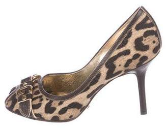 Dolce & Gabbana Peep-Toe Leopard Print Pumps