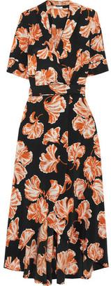 GANNI - Geroux Floral-print Silk Crepe De Chine Wrap Dress - Black $475 thestylecure.com