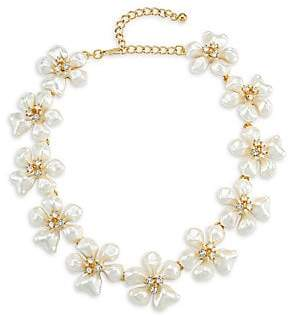 Kenneth Jay Lane Women's Crystal& Faux-Pearl Flower Necklace