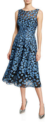 Rickie Freeman For Teri Jon Sleeveless Floral Embroidery Tulle Dance Dress