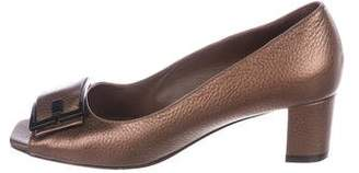 Bruno Magli Leather Peep-Toe Pumps