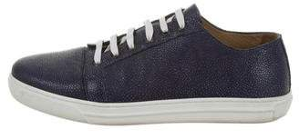 Giorgio Armani Pebbled Leather Low-Top Sneakers