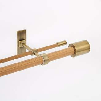 west elm Mid-Century Wooden Double Rod - Wood/Brass