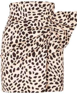Silvia Tcherassi - Willow Gathered Leopard-print Stretch-cotton Mini Skirt - Leopard print