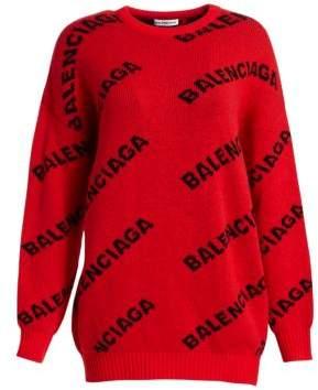 Balenciaga Wool-Blend Logo Sweater