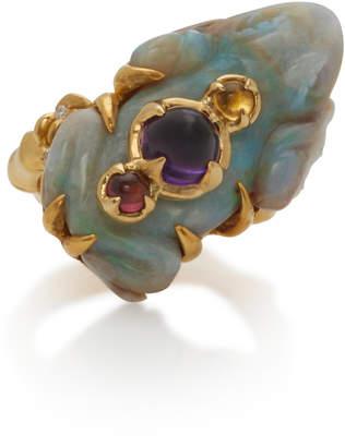Sylvie Corbelin 18K Gold Opal Tourmaline and Amethyst Ring