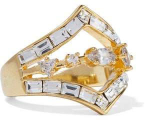Luv Aj Gold-Plated Crystal Ring