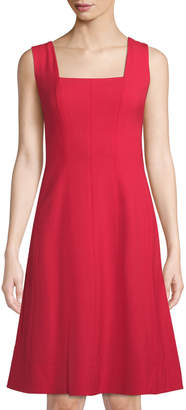 Lafayette 148 New York Adelaide Square-Neck A-Line Dress