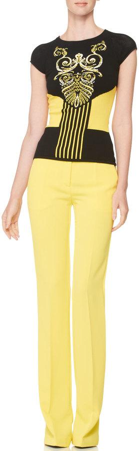Versace Intarsia-Knit Cap-Sleeve Top, Black/Yellow