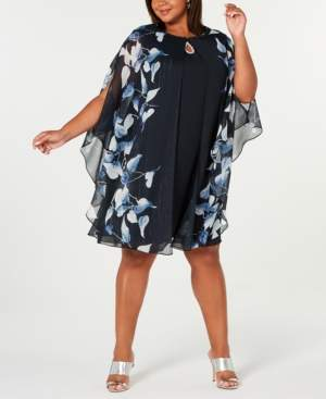 SL Fashions Plus Size Keyhole Dress & Printed Jacket