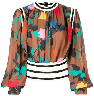 MSGM cropped floral print blouse