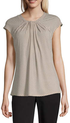 Liz Claiborne Womens Crew Neck Short Sleeve Knit Blouse