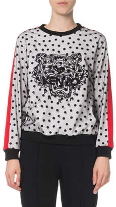 Kenzo Embellished Dot-Print Tiger Logo Sweater