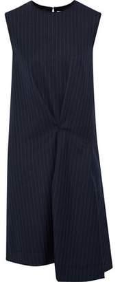 Acne Studios Danya Asymmetric Pinstriped Wool-Twill Dress