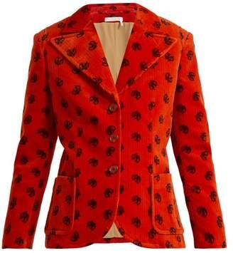 Chloé Printed Corduroy Jacket - Womens - Orange Print