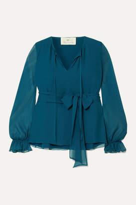 ARoss Girl x Soler Amanda Belted Silk And Silk-chiffon Blouse - Blue