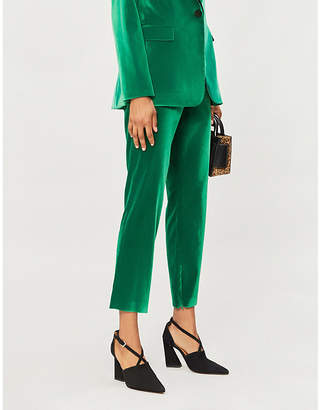 Alice + Olivia Alice & Olivia Stacey high-rise velvet tapered trousers
