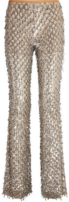 Michael Kors Collection - Embellished Stretch-tulle Flared Pants - Silver $6,995 thestylecure.com
