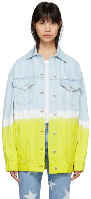 Blue and Yellow Long Oversized Tie-dye Denim Jacket