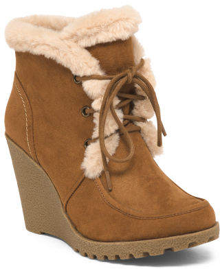 Lace Up Wedge Booties