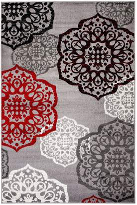 Summit NEW Elite S 53 Moroccan Madallions Gray White Black Red Modern Abstract Area rug
