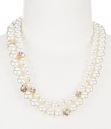 Anne KleinAnne Klein Faux-Pearl & Crystal Multi-Strand Collar Necklace