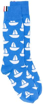 Thom Browne Sailboat Icon Intarsia Mid-Calf Socks
