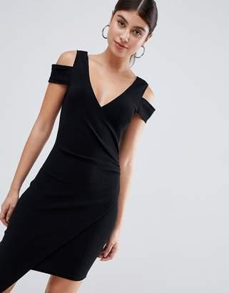 AX Paris cold shoulder midi dress with split detail