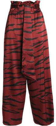 Ganni Zebra-Print Silk-Blend Satin Wide-Leg Pants