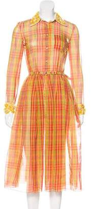 Prada Plaid Midi Dress