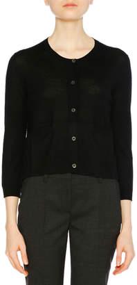 Prada 3/4-Sleeve Virgin Wool Cardigan
