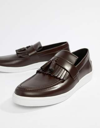 Fred Perry George Cox tassle leather contrast sole loafers in oxblood