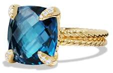 David Yurman Châtelaine Ring with Hampton Blue Topaz and Diamonds in 18K Gold