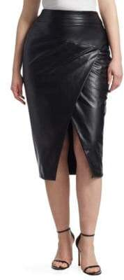 Marina Rinaldi Ashley Graham x Faux-Leather Pencil Skirt