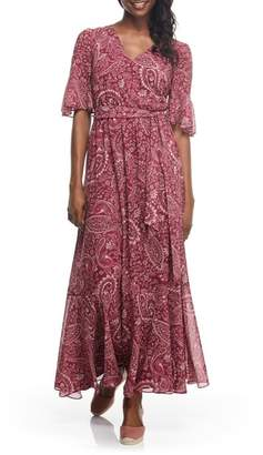Gal Meets Glam Candace Print Chiffon Maxi Dress