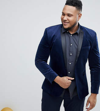 Asos Plus Super Skinny Blazer In Navy Velvet