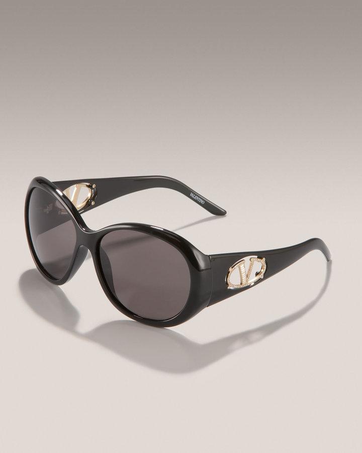 Valentino Shiny Black Sunglasses