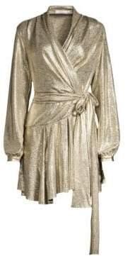 Alice + Olivia PatBO Lame Asymmetric Mini Wrap Dress