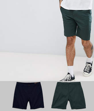 Asos DESIGN 2 Pack Slim Chino Shorts In Navy & Bottle Green Save