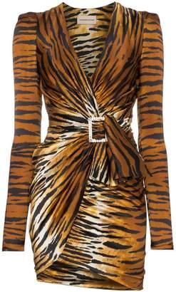 Alexandre Vauthier V-neck tiger print silk blend mini dress