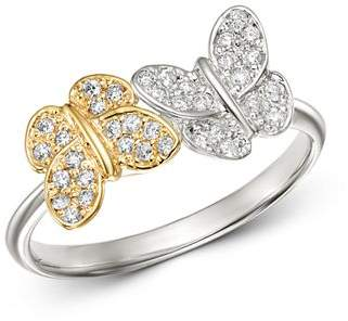KC Designs 14K White and Yellow Gold Diamond Double Butterfly Ring