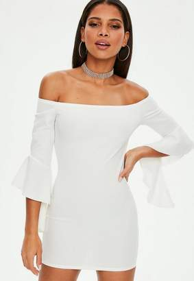 Missguided Petite White Bardot Frill Sleeve Dress