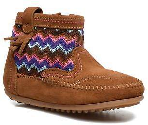 Minnetonka Kids's Aspen Boot Zip-Up Ankle Boots In Brown - Size Uk 11 Kids / Eu
